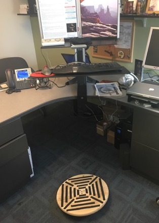 wobble board with standing desk