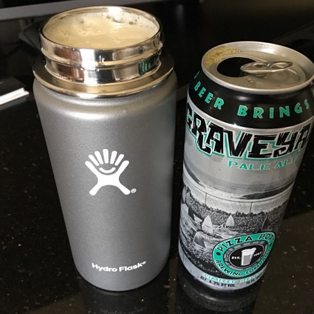 Hydro Flask 16oz Holding a Pint of Beer