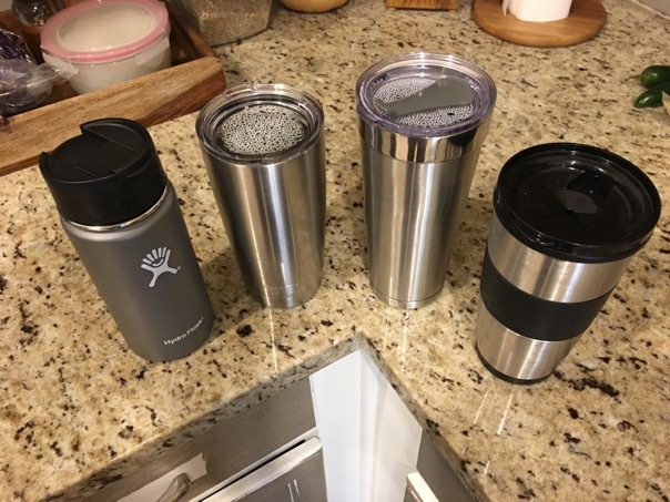 First pour at hour zero - Hydro Flask and YETI on the left, generics on the right