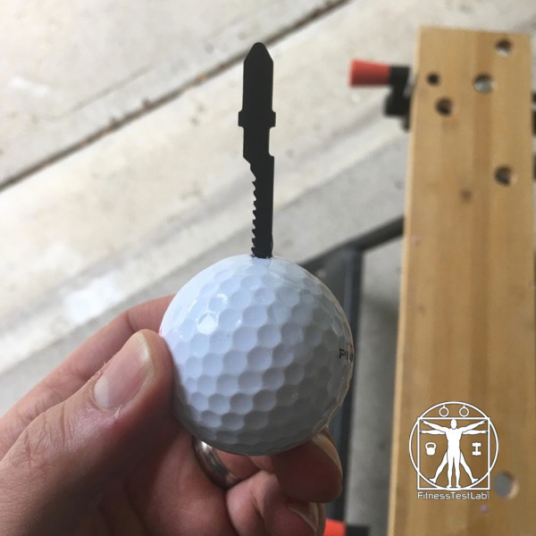 DIY Impact Massager - Saw Blade Inserted in the Golf Ball