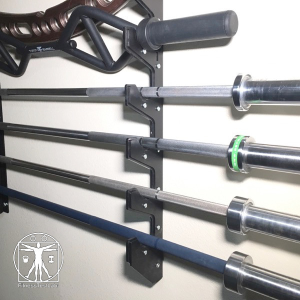 Titan Fitness Barbell Gun Rack Review - Close Up on the Barbells