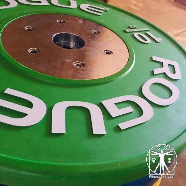 Rogue Fitness Competition Bumper Plates Review - Raised Lettering and Flange