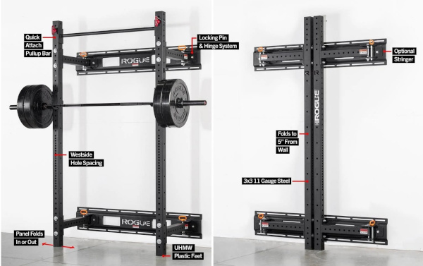 Home Gym Essentials - Rogue RML-3W Fold Back Wall Mount Rack